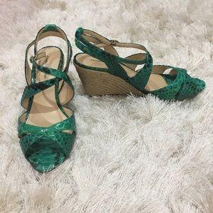 Alexandre Birman green snakeskin wedge espadrille